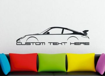 Large Custom car silhouette wall sticker - for Porsche 911 GT3 ( 997 )